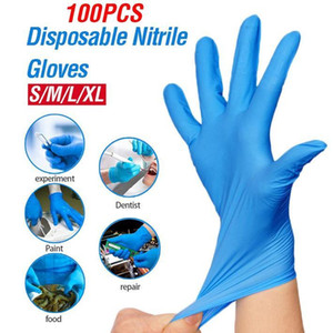Stock High Quality100Pcs Disposable Nitrile Gloves Waterproof Allergy Free Latex Universal Kitchen Dish Washing Garden Gloves FS9518