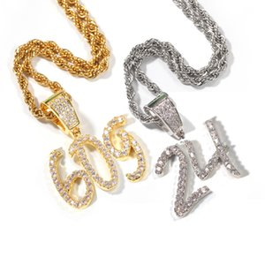 La nueva manera personalizó Números de oro de 18 quilates del diamante de Bling cursiva 0-9 Digitales Número Deportes colgante, collar de DIY personalizado joyería para las parejas