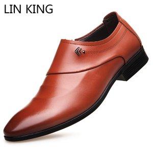 LIN KING Nuovo slittamento scarpe di cuoio su Men Casual Shoes formale ufficio affari della punta aguzza vestito dall'uomo Oxfords
