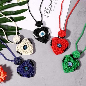 Boho Long Chain Red Beads Heart & Eye Pendant Necklace Women Handmade Sweater Necklaces Female Amulet Jewelry Gift Wholesale