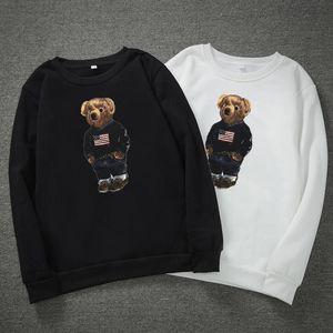 Hiver épais ours imprimé sweats à capuche pour hommes Pull à manches longues Pull Habi à capuche à capuche à capuche à capuche de cou