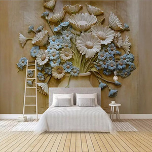 Modern Chinese wallpaper 3D living room TV background wall paper orchid custom wall paint wall covering classical vase arakdi