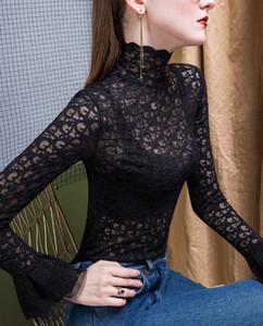 Новейшая дизайн для женской Вышитого письма с длинными рукавами футболка Web Celebrity Высокого воротник Темперамент кружево Versatile с длинными рукавами, S-2XL