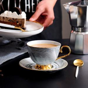 300 мл ручная роспись высокого класса чашка кофе блюдце набор европейский стиль мрамор Пномпень керамическая чашка послеобеденного чая Бесплатная доставка
