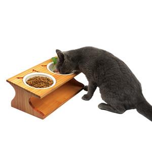 القطة الأليفة مائدة الطعام السلطانيات الخيزران نوع السيراميك مزدوج السلطانيات الحيوانات الأليفة الصغيرة جرو كلاب قطط المياه المغذية الحاويات