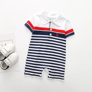Ins Baby Boy Designer Kleidung Strampler Boy Stripped Design Kurzarm Turn Down Strampler Baby Klettern 100% Baumwolle Sommerkleidung