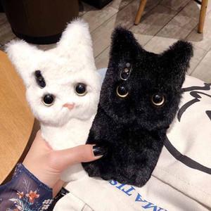iphone 11 iphone iphone XR için 11 pro Kış Sıcak dolması kürk Yumuşak TPU telefonu kılıfı için Totviss Kılıf Sevimli beyaz 3D kedi Peluş kürk telefon Kılıf