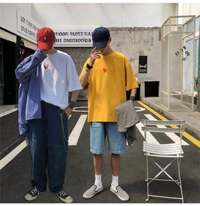 Adolescentes bordado vermelho do Letter Oversize camisetas Verão Crew Neck manga curta Tees Mens Street Wear Fasion roupa ocasional