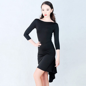 Slim Latin Dress Black Mid-Sleeve Salsa Tango Rumba Practice Dance Wear Ballroom Samba Cha Cha Performance Dancing Outfit DC1674