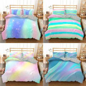 Kids Colorful Glitter Bedding Set Women Girls Shining Duvet Cover with Pillowsham 2 3 Piece Trendy Bedclothes