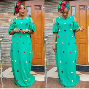 dimensione Large APPLIQUE abbigliamento casual 2019 Abbigliamento Donne New African Fashion Africaine Robe lungo allentato maxi Africa Abbigliamento