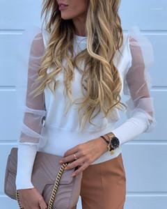Puff Kol Bayan Bluzlar Hollow Çıkan Kadınlar Tasarımcı Gömlek Kadın tül Giyim Yeni Geliş Moda Bahar