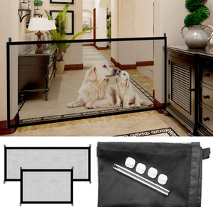 "Retractable Dog Magic Guard Gate for Dogs Pet Safety 70.9""x28.3"" Portable Folding Mesh Easy Install Anywhere"