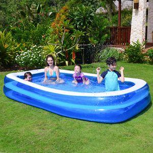 Portátil Família Courtyard Retângulo inflado brinquedo ao ar livre Criança Piscina com Escorra e piscina inflável bomba elétrica para crianças e adultos