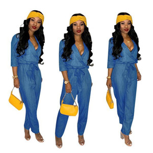 2019 Blue Soft Denim Jumpsuits Rompers Hot Sale 3 4 Sleeves V Neck Loose Jeans Outfits Women Casual Full Length Pants High Quality Fabric