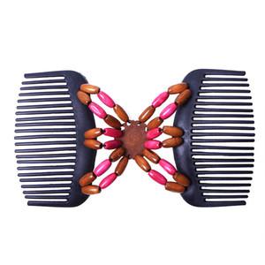 2019 Perfect Magic Retro Doble pelo de cuentas Magic Comb Beads clip de elasticidad horquilla elástica peines para el cabello peines accesorios