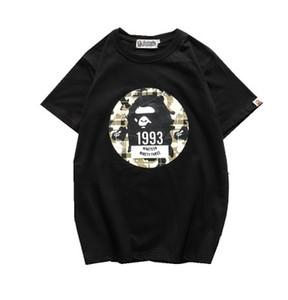 Ronda Casual cuello del patrón de la Copa Mundial de Fútbol de Nueva 19BAPE imprimió las camisetas de los hombres de APE Manga corta camiseta Pullover Justin Bieber Mujeres Clot