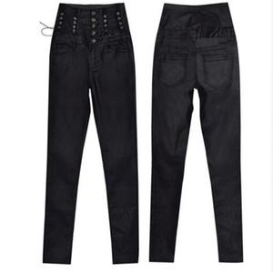 Femmes noir revêtement PU taille haute jeans à lacets pantalons en denim stretch femme mode skinny jeans élastiques en similicuir
