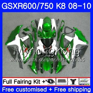 Kit para SUZUKI GSXR 750 600 GSX-R750 GSXR600 2008 2009 2010 297HM.33 GSX R600 R750 600CC GSX-R600 K8 GSXR750 Verde branco 08 09 10 Carenagem