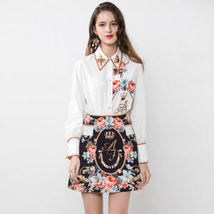 2020 Summer 2 Stück Frauen-Sets Qualitäts-Art- und weiße Hemden + Röcke weiblichen dünnen Blumendruck-Anzüge