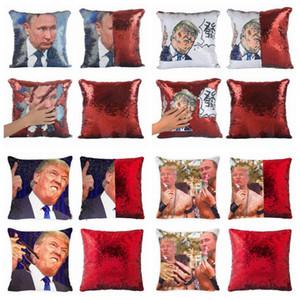 Trump Sequin Kopfkissenbezug DIY Mermaid Reversible Sofa-Auto-Dekor Kissen Dekokissen Abdeckung Home Office Weihnachtsdekoration ZZA1180 120Pcs
