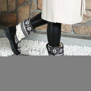 Zapatos calientes botas de invierno de la venta caliente de las mujeres-snowboot antideslizante suela de goma del copo de nieve de mirada agradable grande más el tamaño de la flor libre del envío Negro