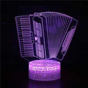 Erkek Çocuk Hediyeleri için Uzaktan Kumanda ile 3D Illusion Lambası Üç Desen ve 7 Renk Değişimi Piyano LED Nightlight - Akordeon Gece Işığı