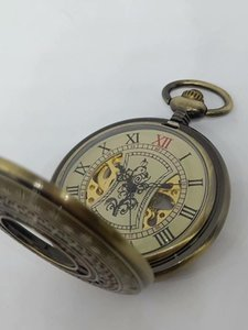 20pcs lot Vintage Bronze Transparent Case Mechanical Pocket Watch with Chain Fob Open Face Steampunk Gift Watch Wholesale
