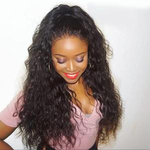 Brazilian # 4 Dark Brown lange lose lockige wellenförmige volle Perücken 10% Menschenhaar Hitzebeständige Glueless synthetische Spitze-Front Perücken für schwarze Frauen