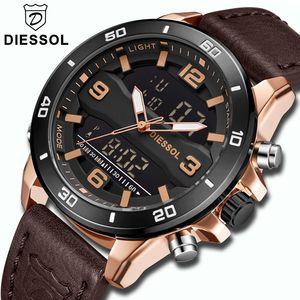 Diessol Relojes para hombre de primeras marcas de lujo Correa de cuero Reloj de cuarzo Hombres Militar Deporte Relojes digitales Impermeable Relogio masculino Y19051703