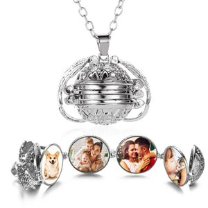 Wholesale Magic 4 Photo Memory Necklace Antique Sliver Locket Pendants Multilayer Openable Fashion Box Necklace Jewelry