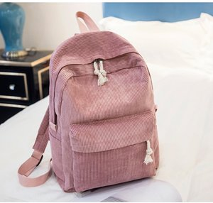 School Bags For Teenage Girls Fashion Hot Sale Wholesale High Quality Cheap Corduroy Solid Fabric Design Lady Dropshipping