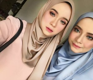 1 pc New Smooth Shiny Bubble Satin Scarf Shawls Plain Solider Colors Thicken Hijab muslim scarves scarf 19 colors for choose