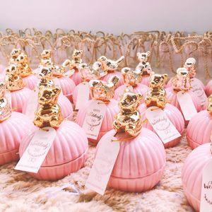 Tatlı Düğün Şeker Çanta Romantik Düğün Iyilik Hediye Kutusu Paketi Parti Favor Pembe Çanta Düğün Nedime Hediye Takı Depolama