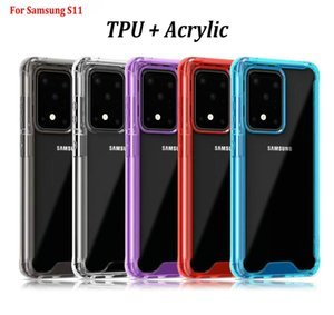 Воздушной подушке противоударный Прозрачный ТПУ Акриловая задняя крышка Крышка для Samsung Galaxy S11 S11 S20 S20 PLUS Plus S20 Ультра Примечание 10 Pro