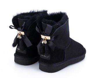 Siddons pelle di pecora stivali di pelle pelliccia di lana le donne in fila breve caviglia inverno camoscio di neve con bowknots nappe scarpe invernali