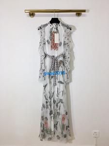 высокого класса женщин девушки миди рябить платье рубашки лоскутное цветочные полосатый галстук талии плеча длинный рукав юбка дизайн одежды класса люкс платья