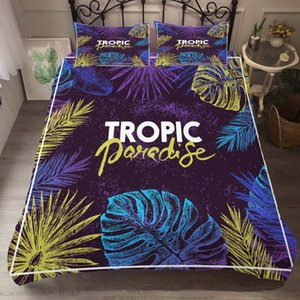 Duvet Cover Set Bedding Comforter Tropical leaves Printed Bedroom Clothes with Pillowcases for Adult King Queen Size