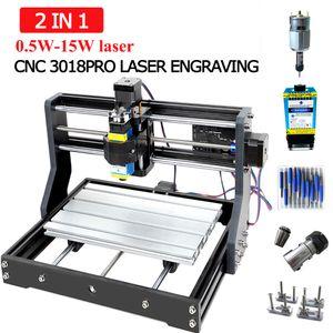 3018Pro Máquina de grabado láser CNC de 3 ejes de fresado DIY MINI grabador del laser para la escultura de madera Soporte uso sin conexión de potencia de 0,5 W-15W