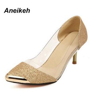 Aneikeh las mujeres bombea los zapatos de alta calidad de la manera de la PU fina de cuero de tacón bombas Oro Sliver Tamaño de los zapatos Mujer Plus 35-40 158-1