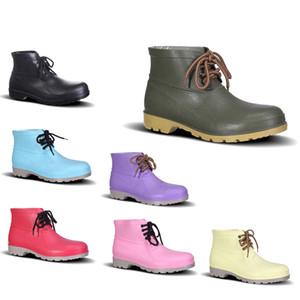 PVC No-Brand Design Rain Boots Низкая труда Страхование Обувь стальной подносок Черный Желтый Красный Розовый Фиолетовый Темно-зеленый Мужская обувь 38-44