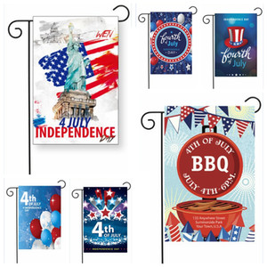 4 de julio Bandera de jardín 30 * 45 cm Día de la independencia Decoración de jardín al aire libre Banderas de bandera Artículos de fiesta 50 piezas OOA6953