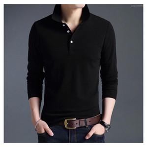 Polo Moda lapela pescoço e respirável Mens tops de manga longa Homme roupa ocasional Designer Mens Sólidos