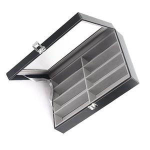 Eight Grid Glasses Storage Box Cortex Sunglasses Display Cases Leather Density Board Open Lid Design Fashion Black Square 22hxC1