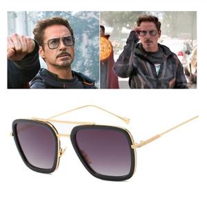 2019 Nueva Moda Avengers Tony Stark Gafas de Sol Hombres Metal Square iron man Gafas Steampunk Gafas de Sol Hombre