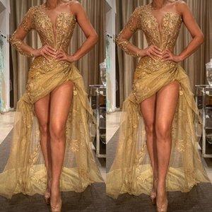 Sexy ouro de um ombro Prom Dresses 2020 Lantejoulas apliques de mangas compridas Mermaid Vestido Partido Africano Vestido