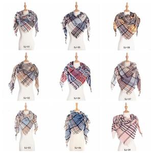 Plaid Scarves Girls Check Tassel Wraps Grid Oversized Shawl Lattice Triangle Neck Scarf Fringed Pashmina Winter Neckerchief Blankets D6790