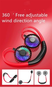 Rechargeable Sports Fan Hnging Neck Fan lazy Portable fans student Desktop Fans mini portable USB neckband lazy hanging double free shipping