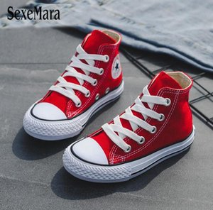 Children Casual Shoes Unisex 2019 Classic High Top Girls Canvas Shoes Student Lace up Sneakers for Boys New Toddler Shoes