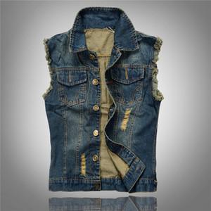 Multi Pocket Denim Gilet Uomini Motociclista Jeans Vest maschile Cowboy maniche Jean Jacket Chaleco Hombre fz0578
